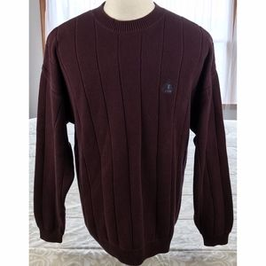 Izod Men's L Crewneck Sweater Ribbed 100% Cotton